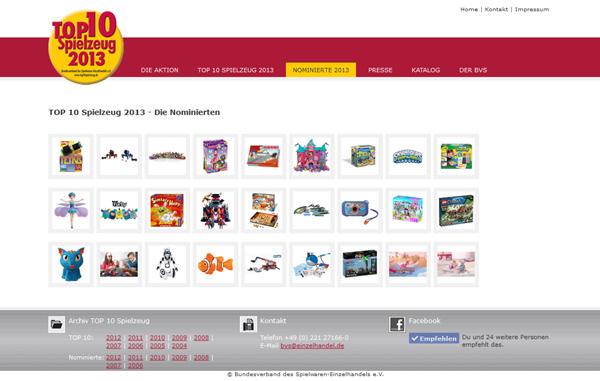 Die Nominierten der TOP 10 Spielzeug 2013