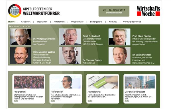 Webseite des Weltmarktführer Gipfels