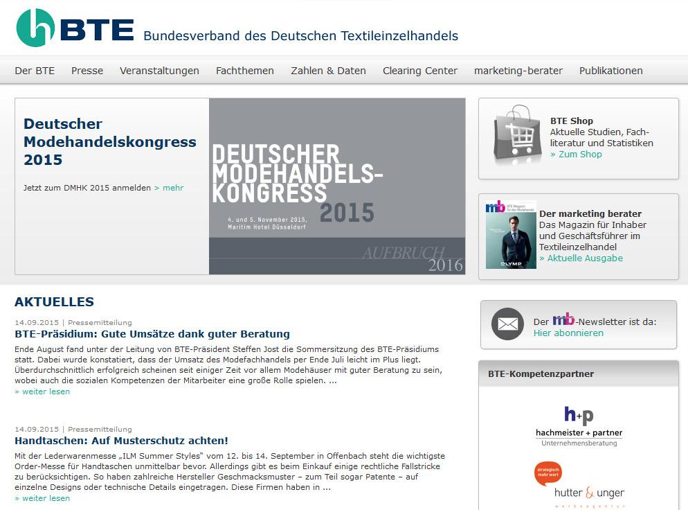 Neue Webseite und neuer Online-Shop für den BTE